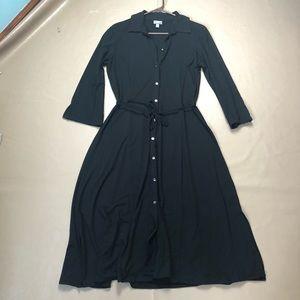 50%J.jill Black Button-Down Midi Dress SZ S